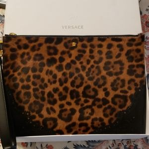 Versace clutch wristlet leopard print pony hair